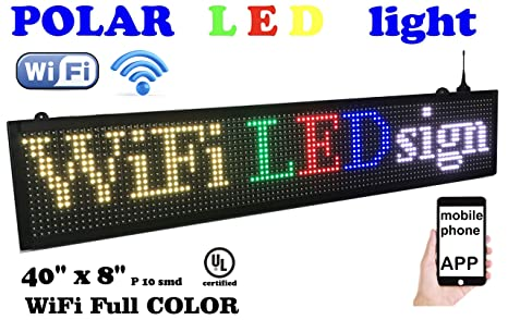 WiFi LED Sign, 7 Color Sign 40