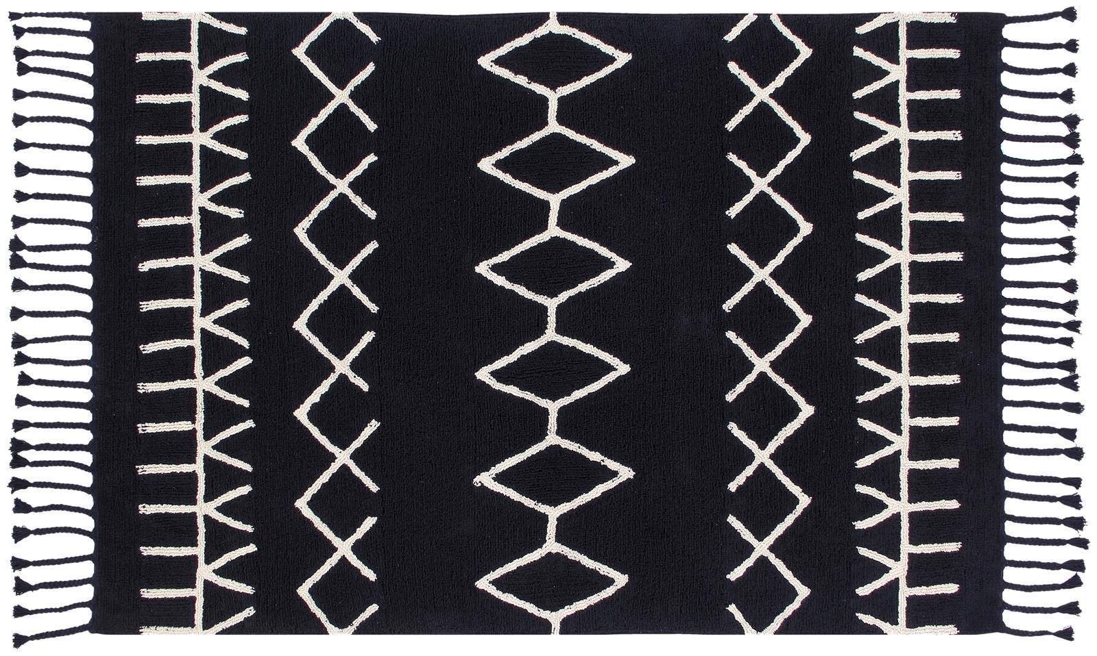 Lorena Canals Bereber Black/ White 4' 8'' x 6' 7'' Washable Rug
