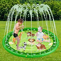 "ARTBECK Letter Splash Pad, Sprinkler for Kids, Sprinkler and Splash Play Mat for Kids, Splash Pad for Wading and Learning, Children Summer Outdoor Water Sprinkler Toys (68"", Sprinkler Pool-B)"