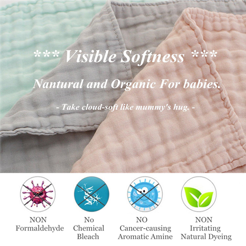 Paños de baño para el baño | Set de pañuelos de muselina para recién nacidos, paquete de paños para bebés para pieles sensibles de bebés y niños ...