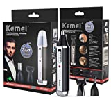 Kemei 3 in 1 Nose Ear Hair Trimmer Kit Electric Eyebrow Trimmer Portable Beard Sideburns Trimmer Rechargeable Men Facial Care Tool KM-6631 Black + Silver