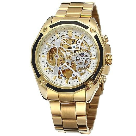 Forsining automático de la marca hombres Chino Movt reloj de pulsera de acero inoxidable único reloj fsg8130 m4g2: Amazon.es: Relojes