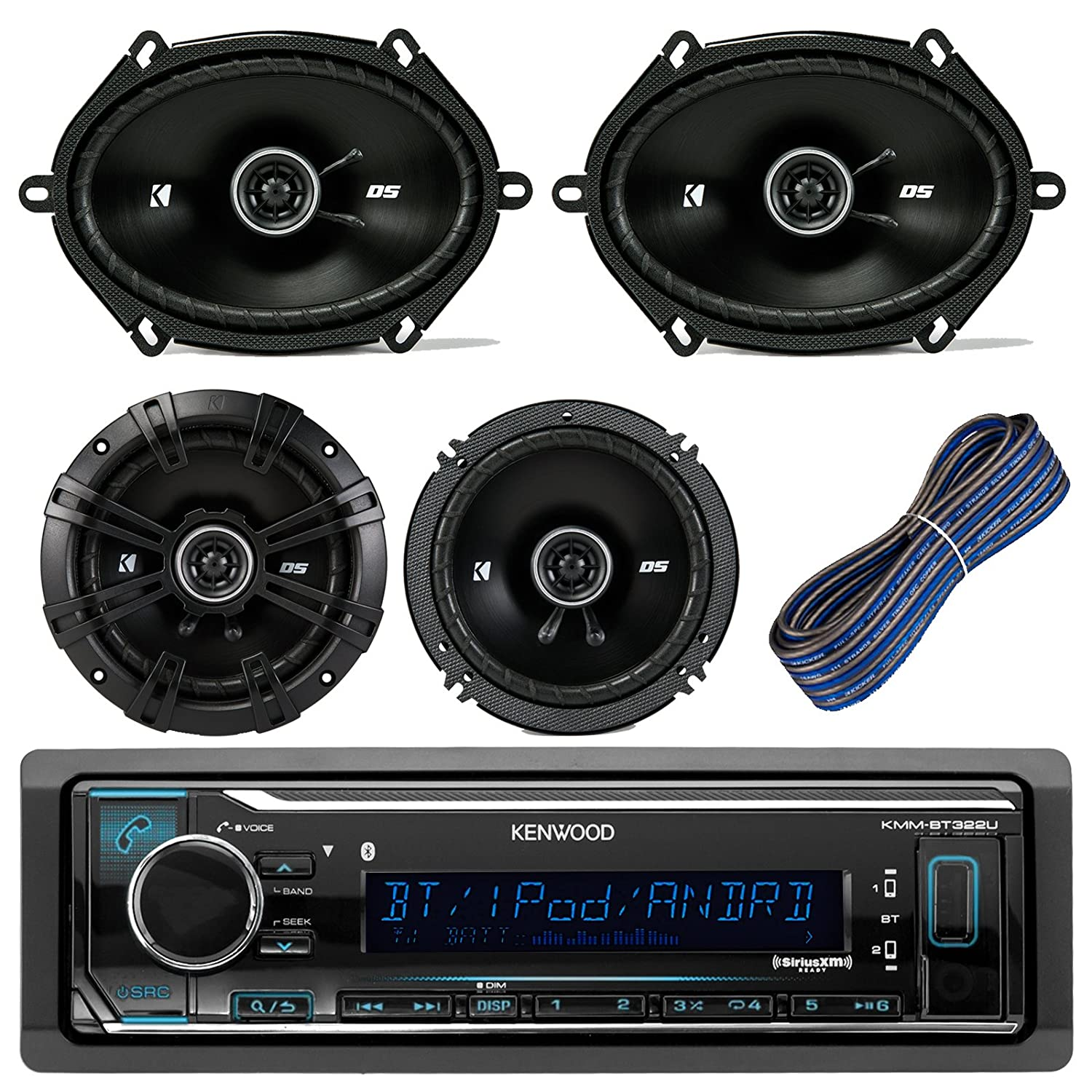 Great Kenwood Car Stereo Receiver With Bluetooth Usb Aux Am Fm Wiring Speakers Bundle Kit 2 Kicker 41dsc684