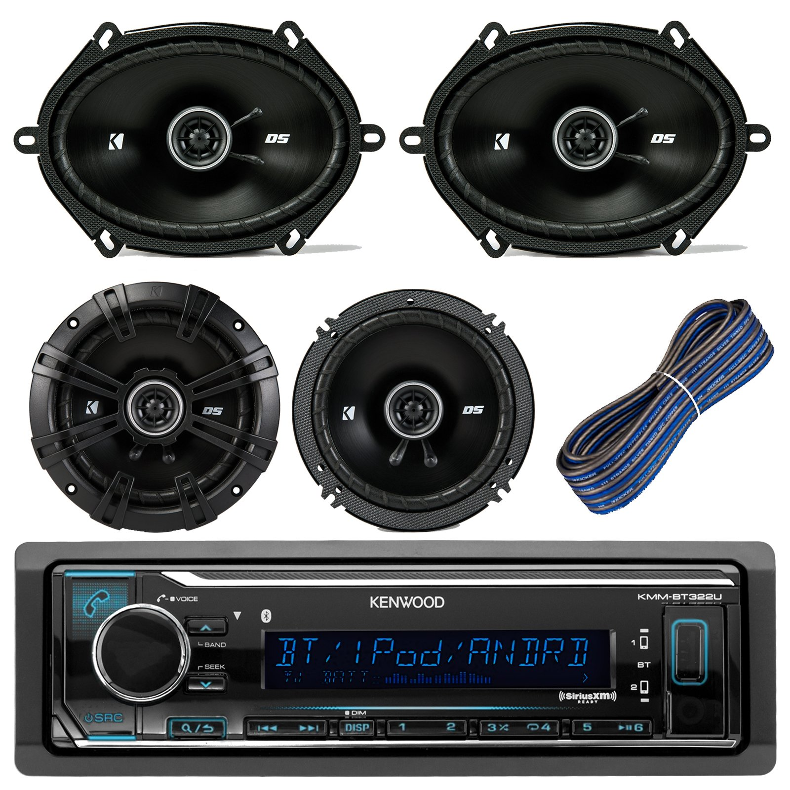 Kenwood Car Stereo Receiver With Bluetooth USB AUX AM FM Bundle Kit With 2 Kicker 41DSC684 6x8'' Car Audio Speakers + 2 Kicker DSC654 6.5'' Speaker + Kicker 20-Feet 16-AWG Speaker Wire