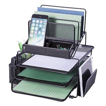 Organizador de escritorio de malla DESIGNA con 3 bandejas deslizantes y 4 secciones clasificadoras apilables con