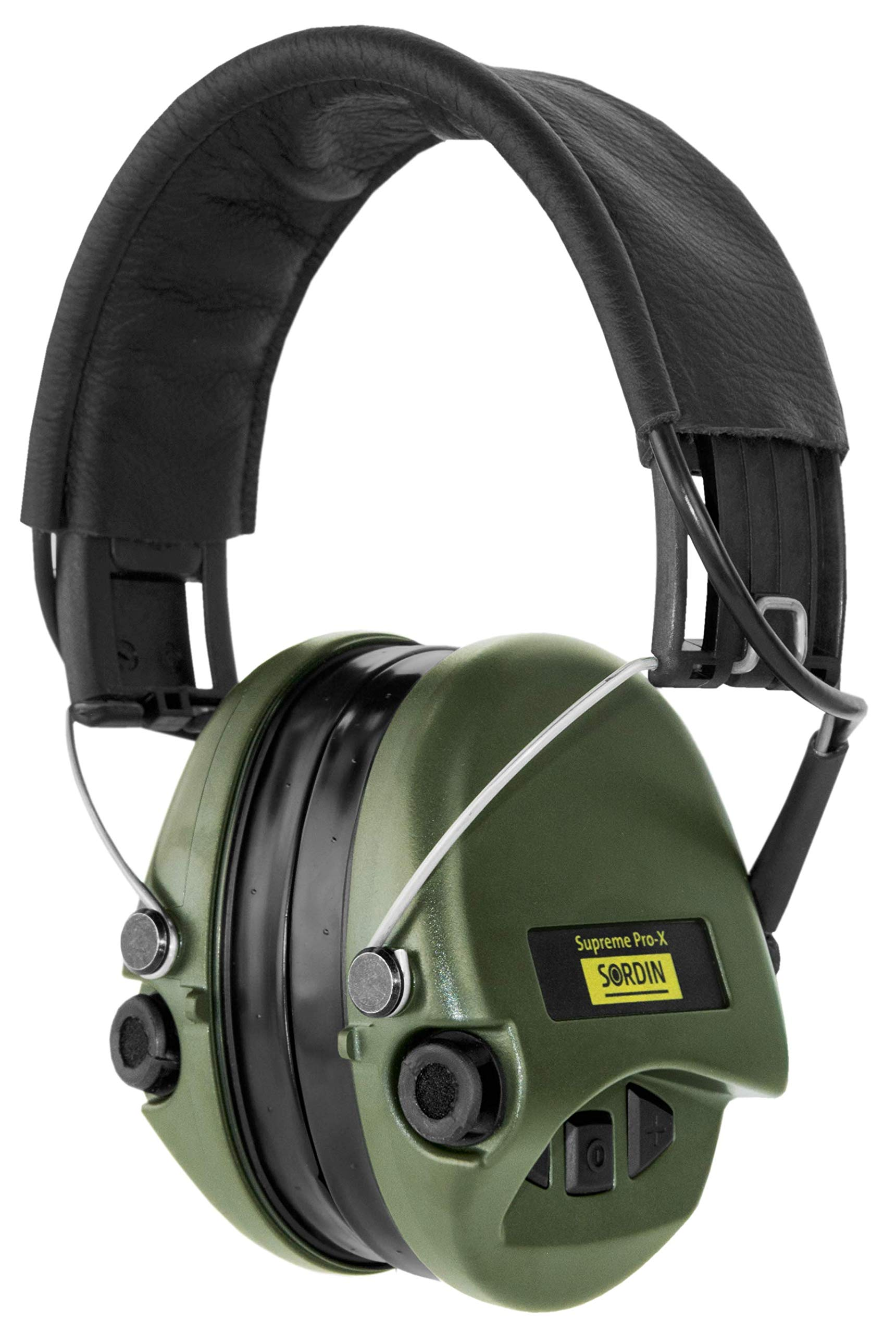 Sordin Supreme PRO X, Noise Reduction Active Safety Ear Muffs, Adjustable Hearing Protection for Shooting, Hunting, Work, Gel Seals, Leather Headband, Green Cups