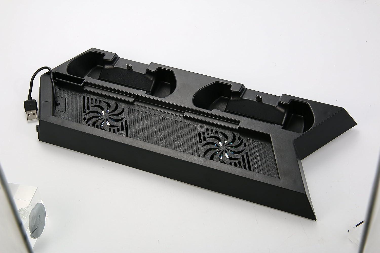 Xcellent Global Estaci/ón de Carga Vertical con Ventilador Refrigerador Puertos de Carga Dual y Puertos USB HUB para Consola PS4 PlayStation 4 y Controladores Mando Anal/ógico PC021W