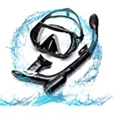 FYU Snorkel Set with Tempered Glass Dry Top Snorkel Set/Anti-Fog Lens/Silicone Mouthpiece for for Adults Womens Mens