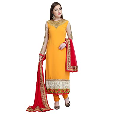 85e0042d83 STYLE AMAZE Women's Georgette Embroidered Semi-Stitched Straight Cut Salwar  Suit Salwar Suit Materials with Dupatta (Orange, Free Size): Amazon.in:  Clothing ...