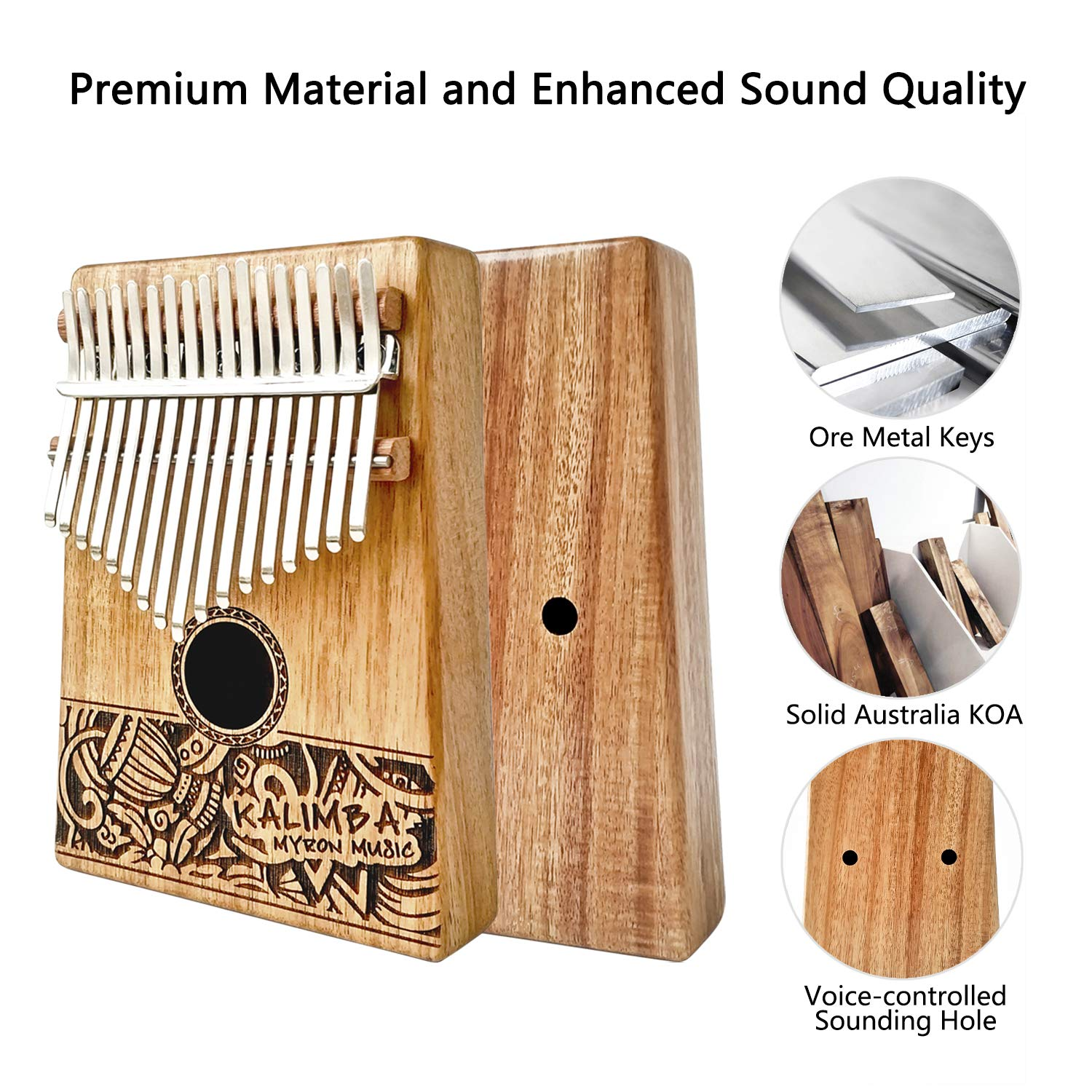 MYRON Kalimba 17keys Thumb Piano Solid Koa with Portable Protective Case, tuning hammer chord sticker and sutdy instruction by Myron (Image #2)