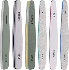 Nail File 6 Pcs Professional Double Sided Grit Nail Files Emery Board for Nature Acrylic Nails, Manicure Pedicure Tool and Nail Buffering Files