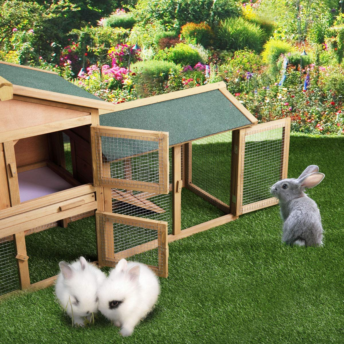 P PURLOVE Wood Bunny Hutch 54'' Large 2 Story Outdoor Bunny House with Removable Tray & Ramp, Backyard Garden Rabbit Cage/Guinea Pig House/Chicken Coop Nesting Box for Small Animals by P PURLOVE (Image #3)