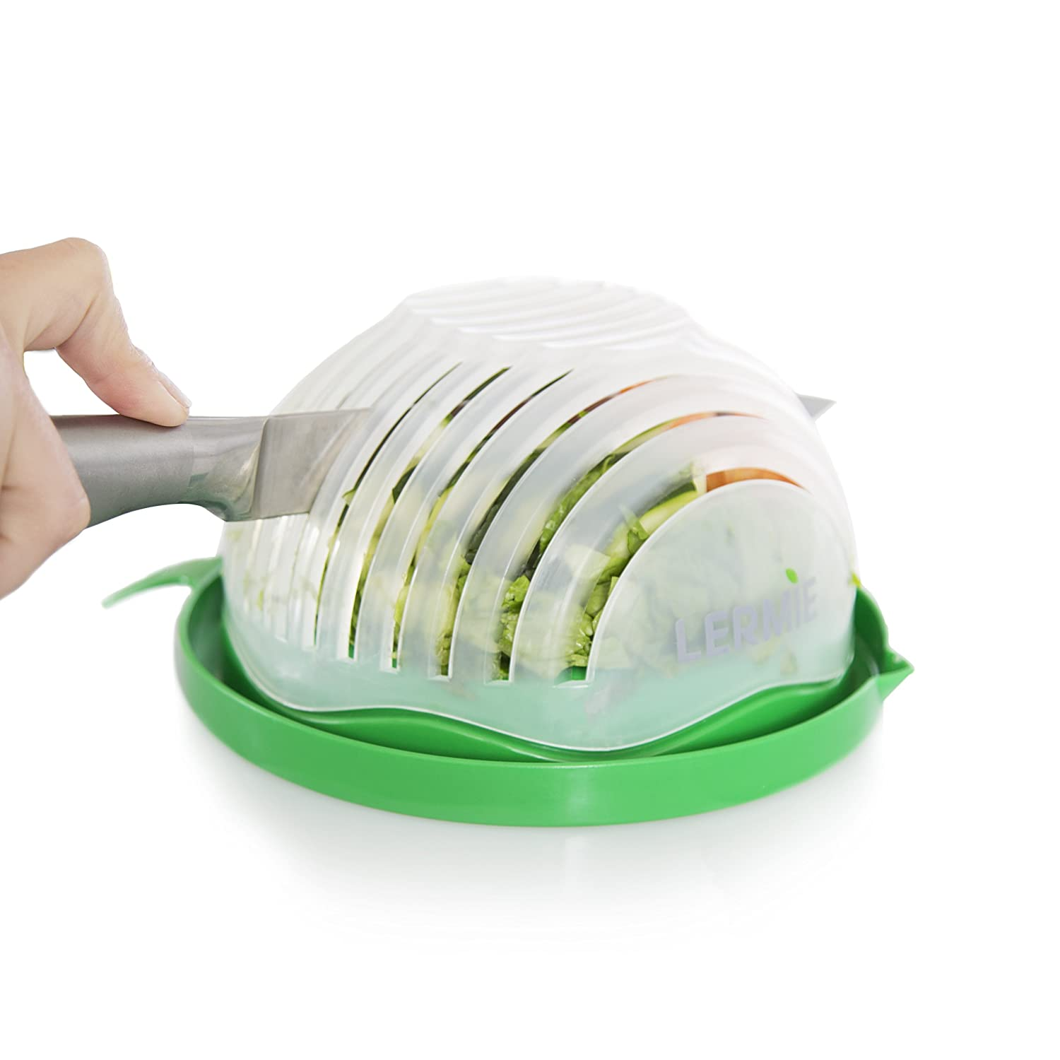 Lermie Salad Cutter Bowl: 60 Second Salad Maker, Easy And Fast Vegetable Chopper And Slicer For Veggies, Lettuce And Fruit, Cutting Board, Strainer And Dicer All-In-1, Dishwasher Safe – BPA Free L02A52