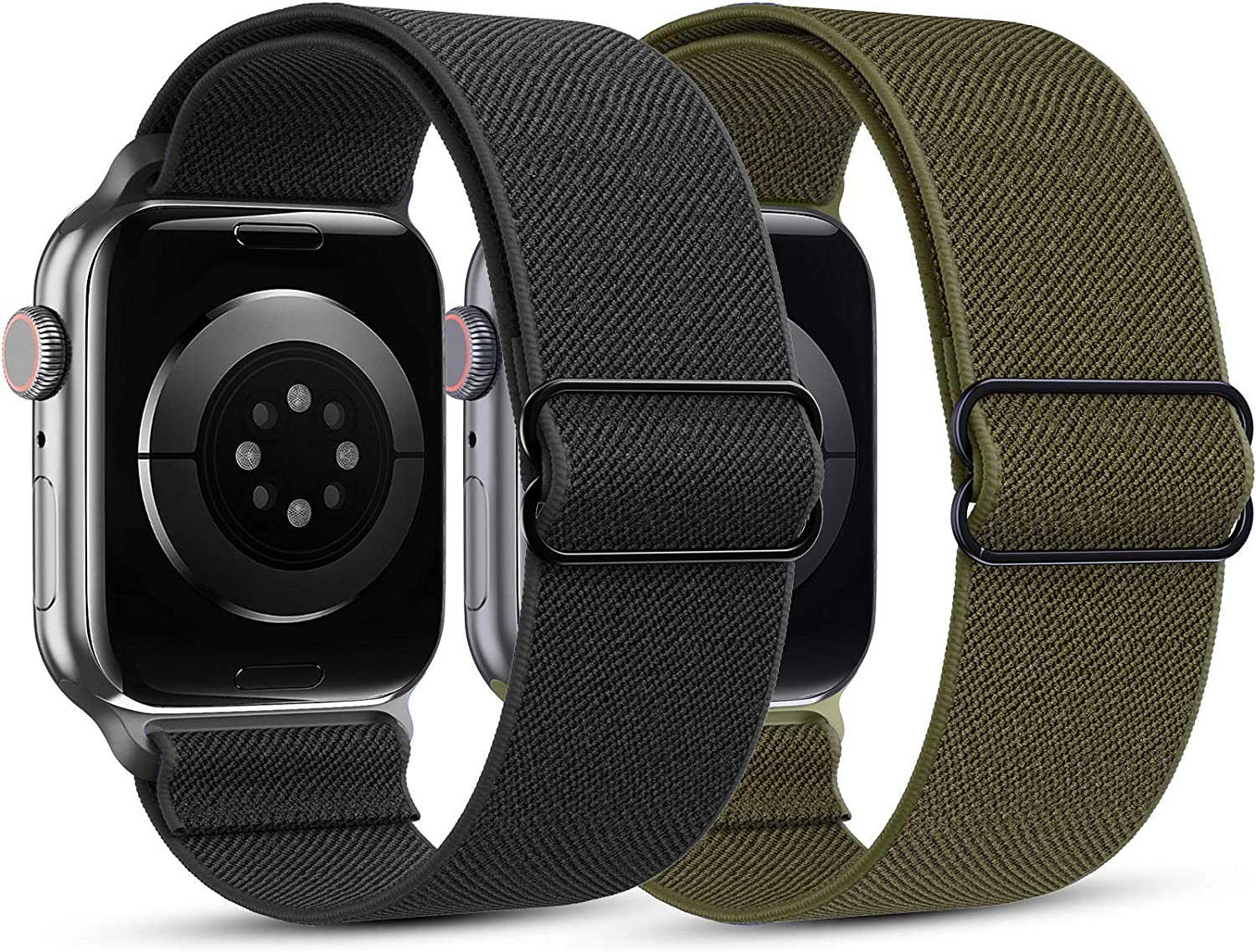 HAPAW [2 Pack] Elastic Nylon Bands Compatible with Apple Watch Bands 42mm 44mm, Soft Adjustable Stretchy Solo Loop Breathable Strap Replacement Wristband Women Men for iWatch SE Series 6/5/4/3/2/1