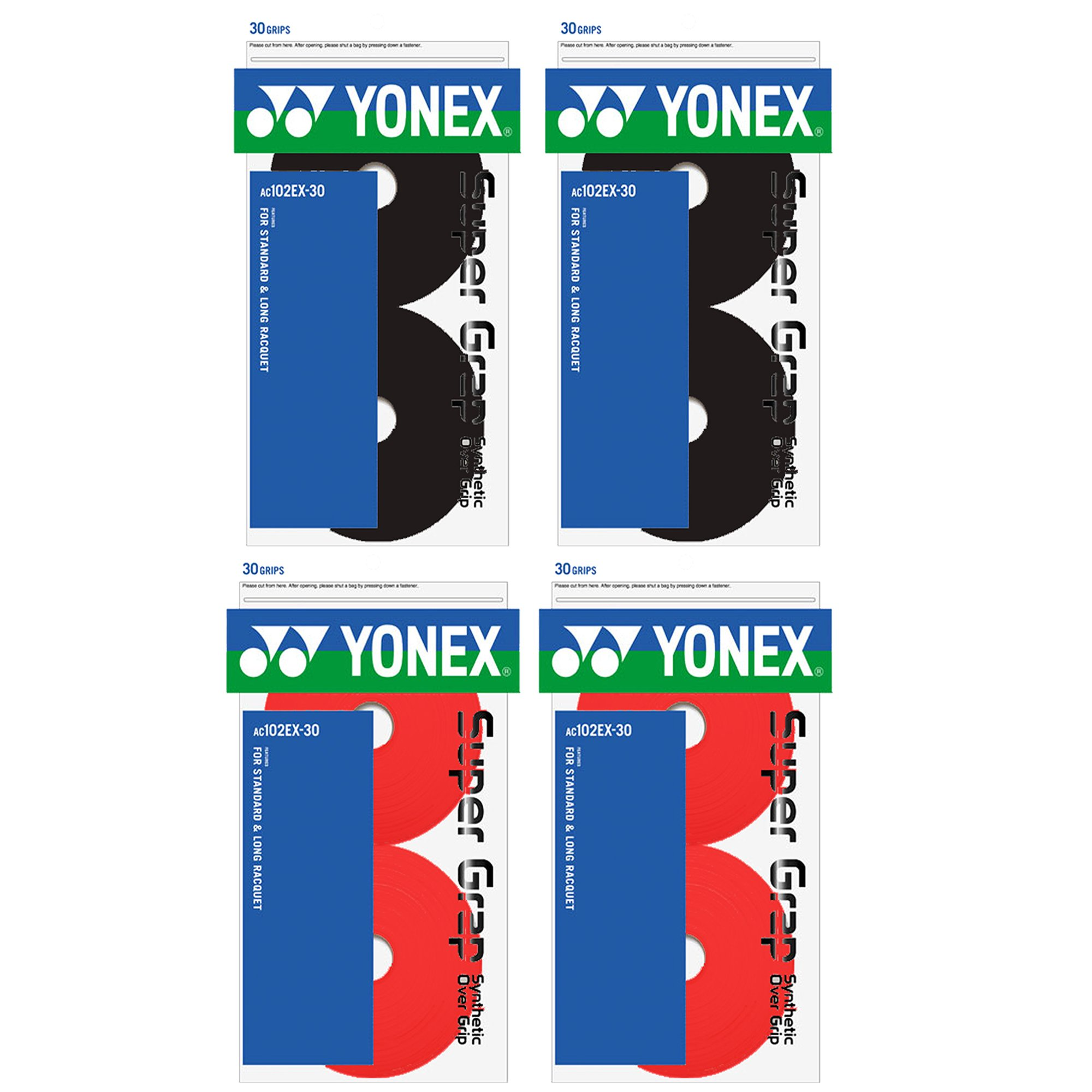 Yonex 4X Super GRAP 30 Pack Over Grip, Black/Red