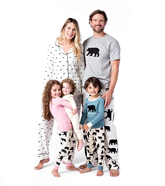Hatley Bear Family Pyjamas, Pantalones de Pijama para Mujer, White (Black Bears On