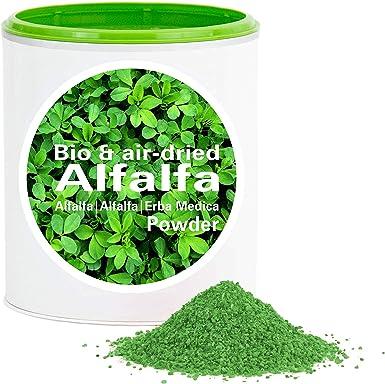 Alfalfa en Polvo - rica en vitamina biológico vegano crudo pura nutrición no aditivo Good Nutritions 150g