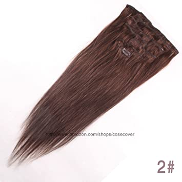 Amazon 20 inch dark brown col 2 full head clip in human full head clip in human hair extensions pmusecretfo Gallery