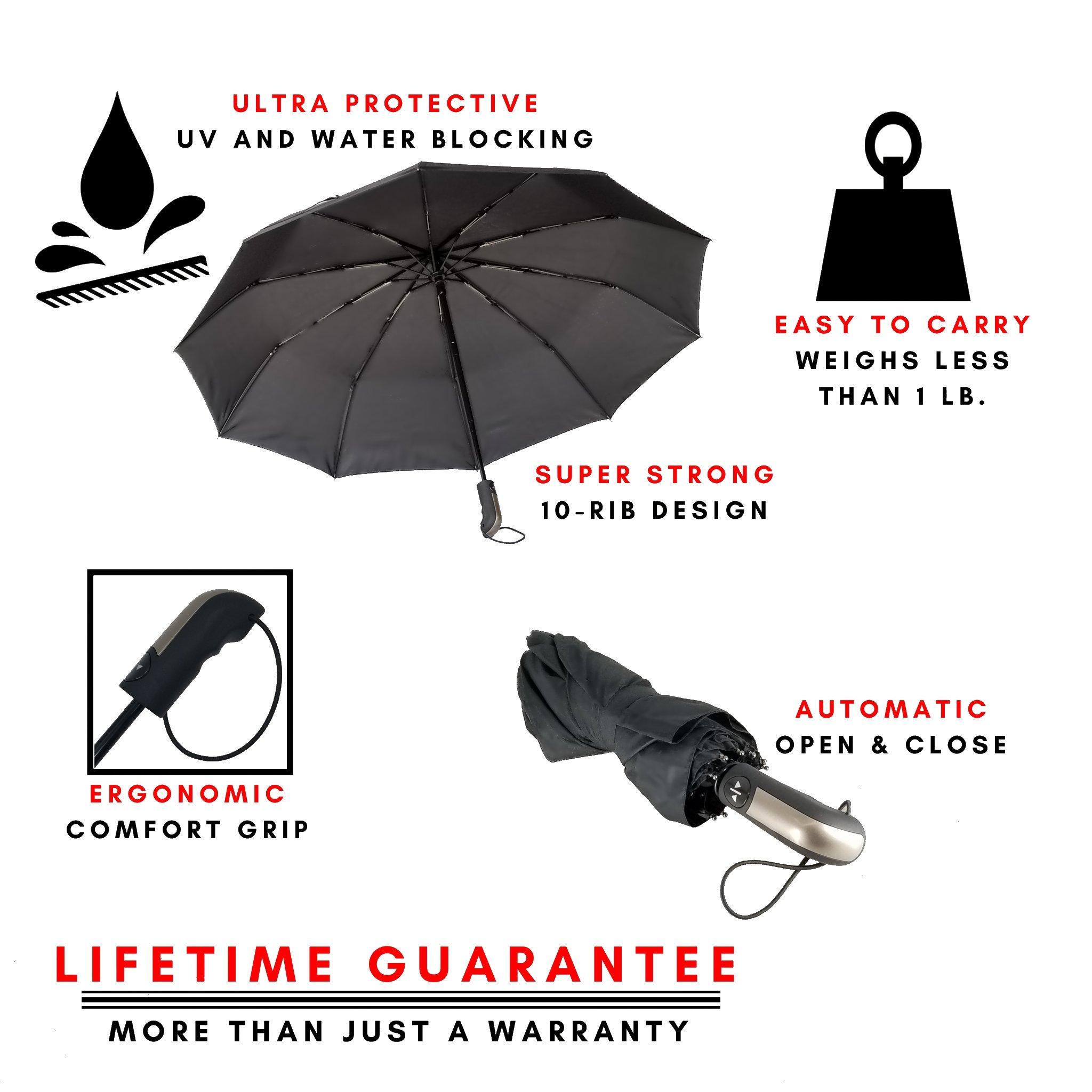 Compact Windproof Travel Umbrella -FREE Mini Black Umbrella- Katzendaügs 2pc Black by Katzendaügs Umbrella Co. (Image #3)