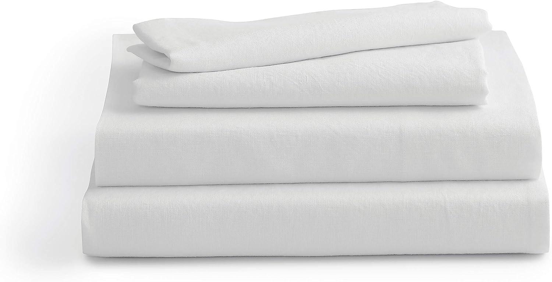 Solino Home 100% Belgium Linen Bed Sheet Set – 4 Piece, Flat Sheet, Fitted Sheet, 2 Pillowcases – Prewashed & Oeko-TEX Certified - Full, White Bedding