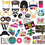 90s Party Photo Booth Props Kit-1990's Throwback Party Supplies Decorations