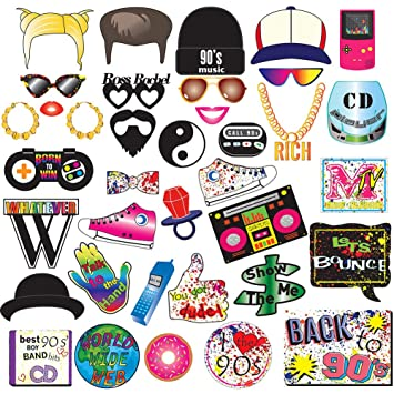 90s Throwback Party Favors Decorations Supplies for Adults and Kids BizoeRade 36pcs 1990s Theme Party Props for Hip Hop Party 90s Party Photo Booth Props