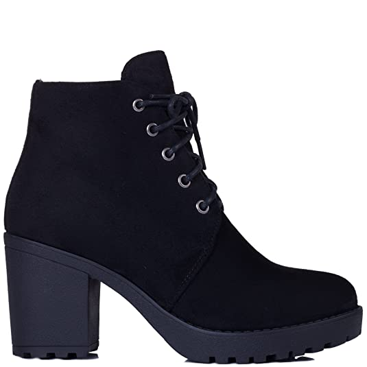 cc292fb0781 SPY LOVE BUY GIRA Women's Lace Up Chunky Block Heel Platform Ankle Boots  Shoes