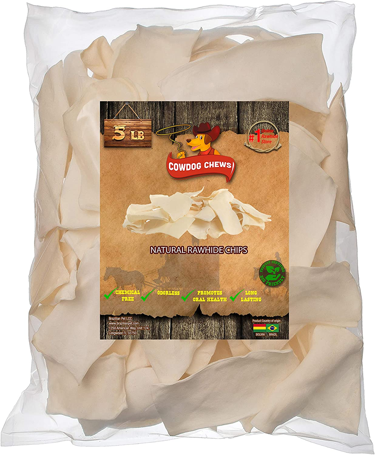 Cowdog Chews Natural Rawhide Chips. Premium Long-Lasting Dog Treats with Thick Cut Beef Hides, Processed Without Additives or Chemicals