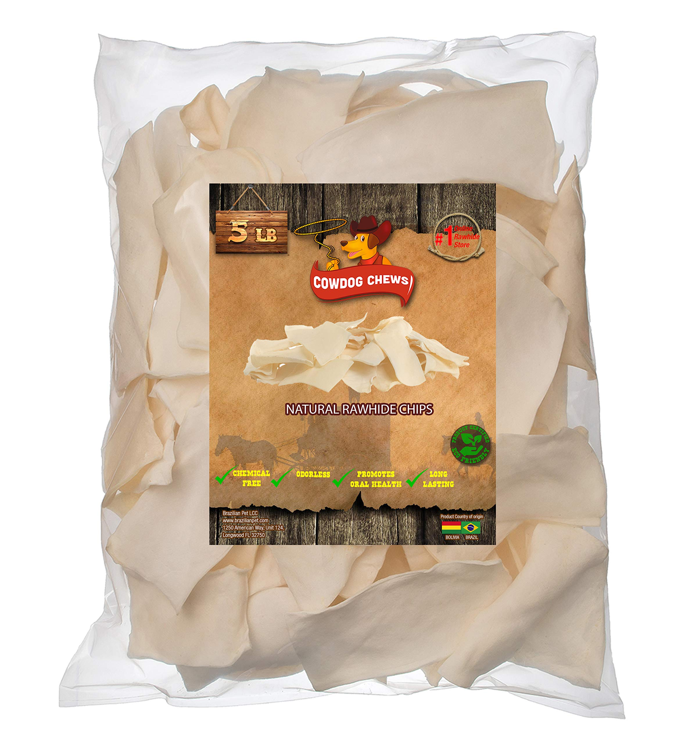 dog supplies online cowdog chews natural rawhide chips - premium long-lasting dog treats with thick cut beef hides, processed without additives or chemicals (5 pounds)