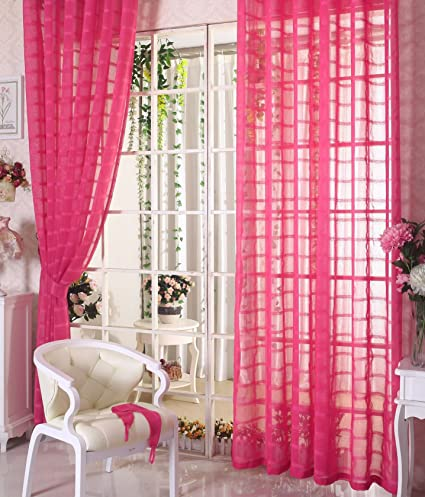 ASide BSide Plaid Pattern Lounge Style Sheer Curtains Breathable Drapes Rod Pockets Home Treatment For Living