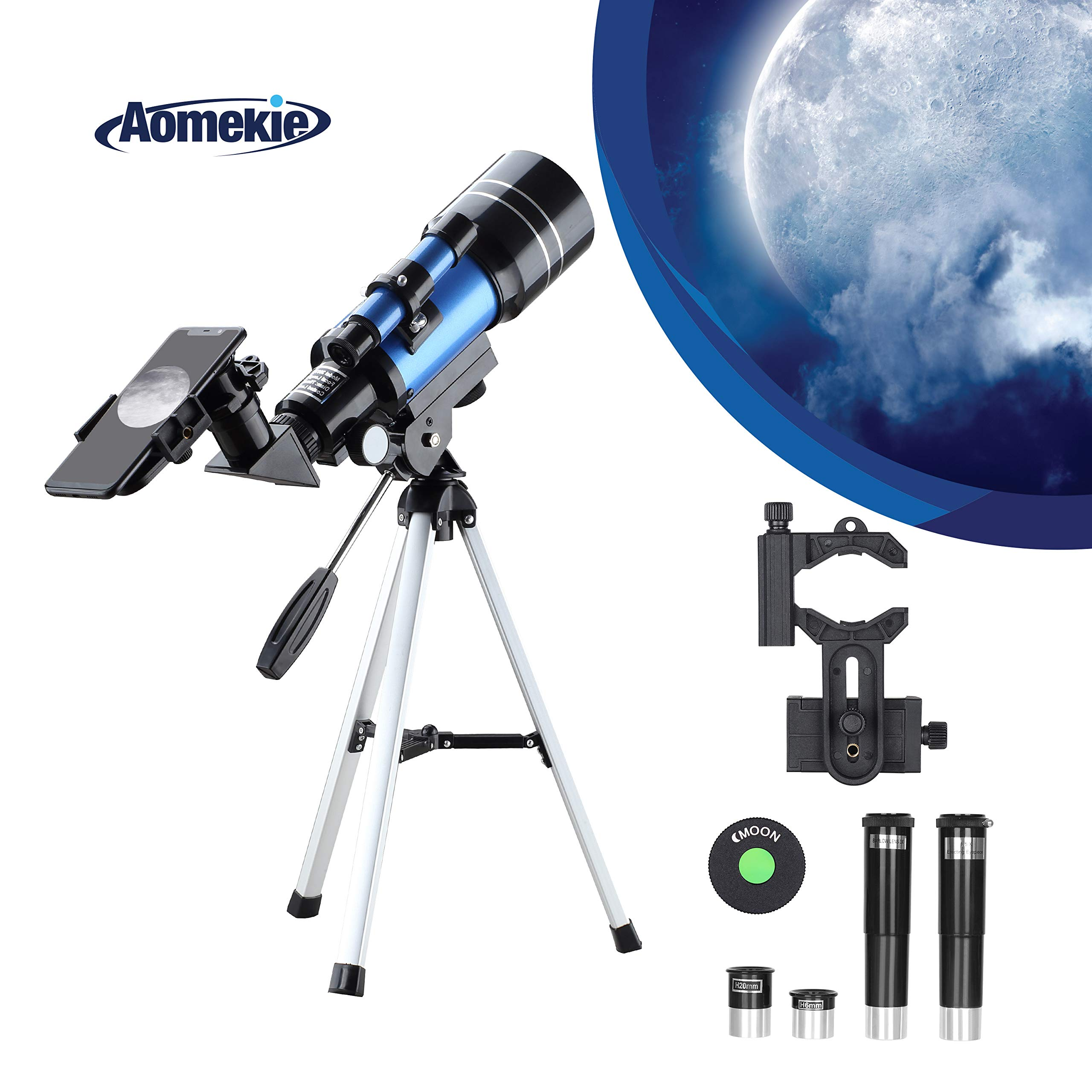 Aomekie Telescope for Kids Adults Astronomy Beginners 70mm Refractor Telescopes with Tripod Phone Adapter Finderscope 1.5X Erecting Eyepiece 3X Barlow Lens by AOMEKIE