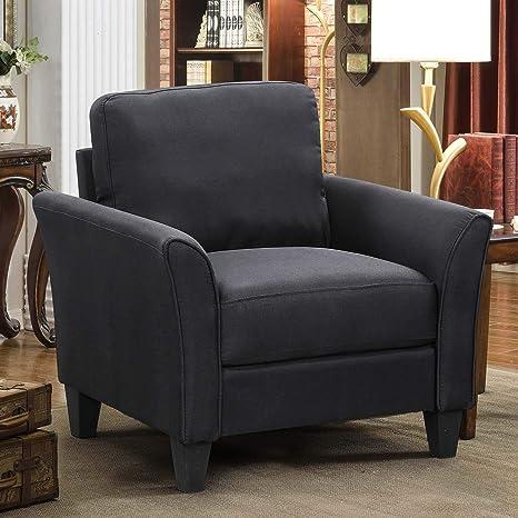 Harper&Bright Designs Living Room Sets Furniture Armrest Sofa Single Chair  Sofa (Black)