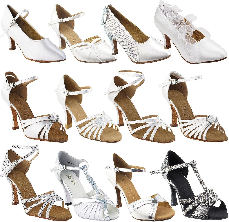 Ladies Women Ballroom Dance Shoes for Latin Salsa Tango SERA1135 Black Satin 3 Heel