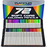 Platinum Art Supplies Soft Core Colored Pencils with Tin Case, Pack of 72