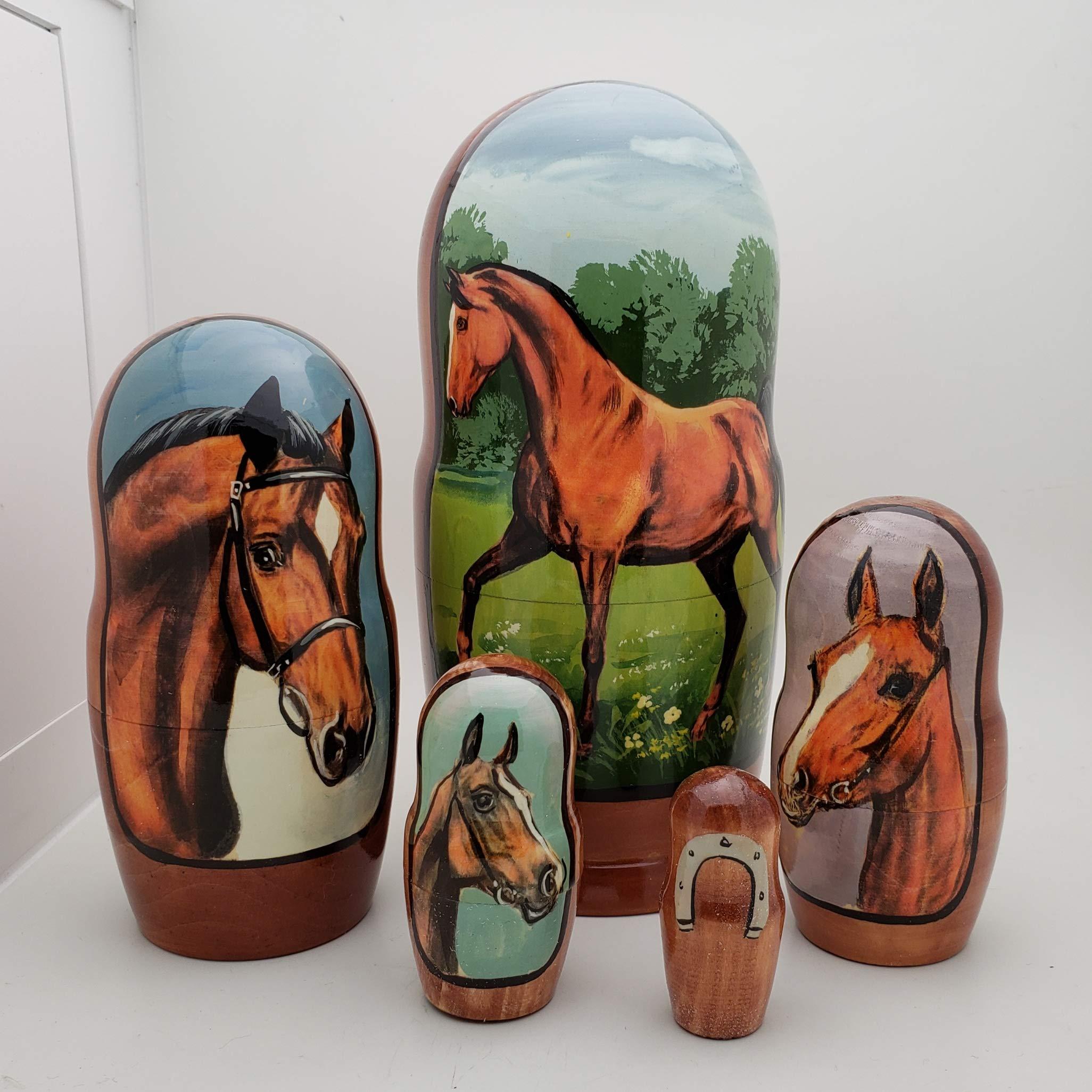 Horse Russian Nesting Dolls 5 Piece Set / 7'' H