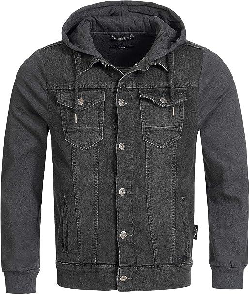 Indicode Herren Boscobel Jeansjacke m. Sweat Ärmeln & Kapuze | Jeanswesten Look Moderne Übergangsjacke Bequeme Herrenjacke Sweatjacke Jeans Jacke