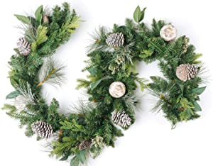 CraftMore Brooklyn Pine Garland with Grey Pinecones and Birch Christmas Decor Balls