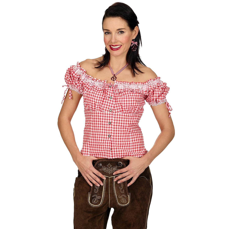 Trachtenbluse Fritzi rot weiß kariert mit Puffärmeln für Oktoberfest und Wiesn