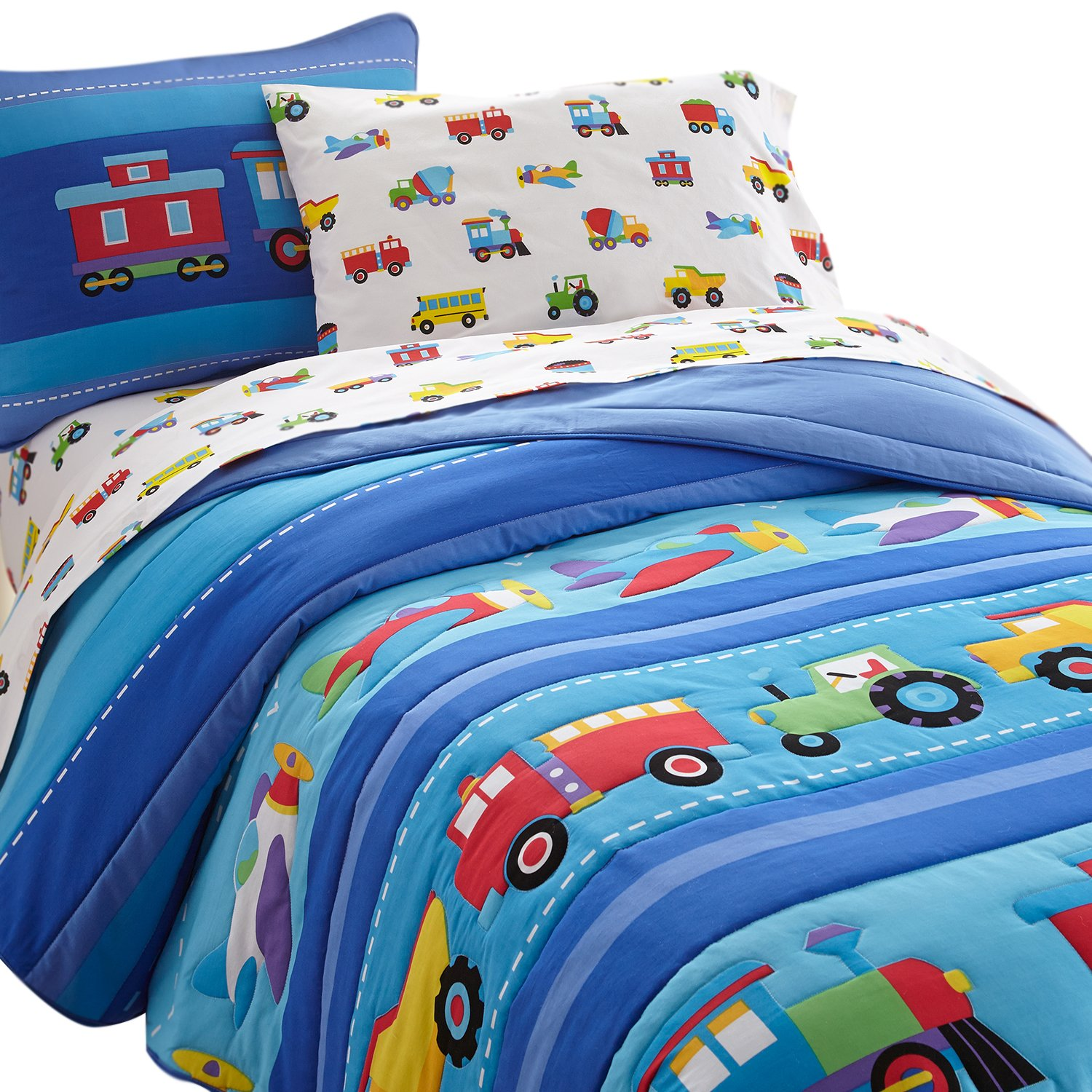 Wildkin Lightweight Twin Comforter Set, 100% Cotton Twin Comforter with Embroidered Details, Includes One Matching Sham, Coordinates with Other Room Décor, Olive Kids Design – Trains, Planes, Trucks