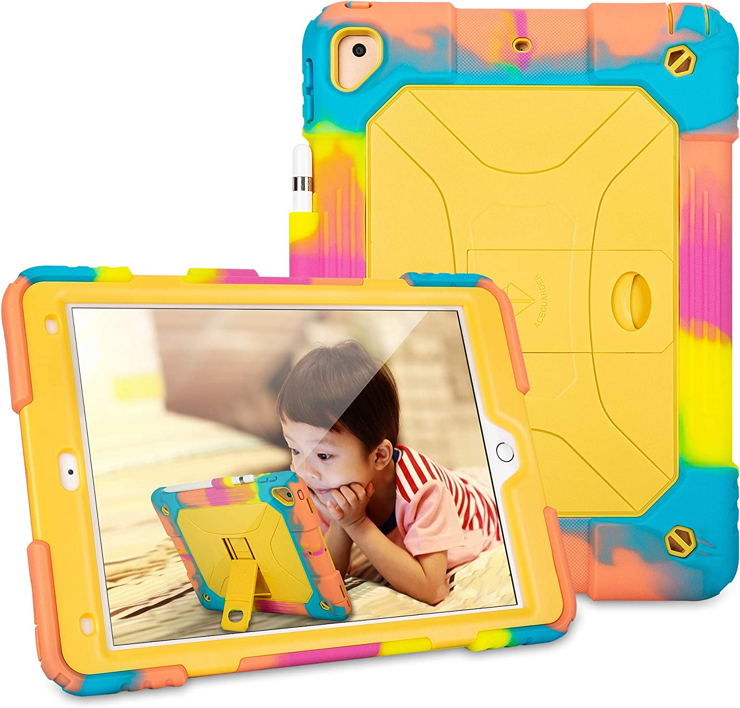 iPad 10.2/iPad 10.5 Case 10.2 inch 2019 2020 Releases Case Kickstand Soft Silicone Shockproof Protective Case for Kids for iPad 7th Generation 2019 2020 - Ice/Yellow