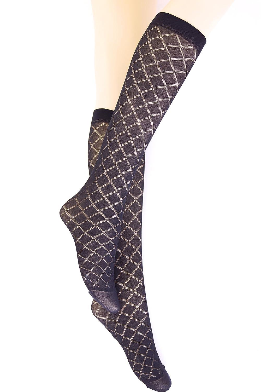 12907e263 3 Pairs new girls womens black patterned knee high pop socks hosiery One  size P2  Amazon.co.uk  Clothing