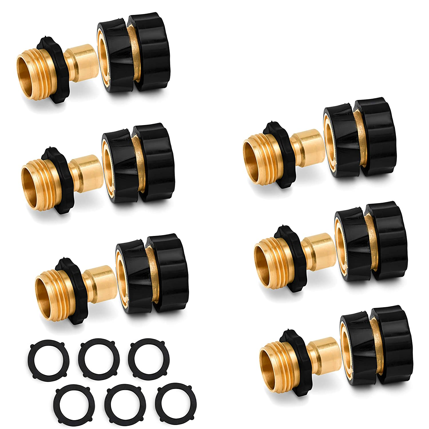 Morvat Brass Quick Connect Hose Connector, Pressure Washer Hose Connect Set, Easily Add Attachments to Garden Hose, Garden Hose Nozzle, 6 Male Connects and 6 Female Connects Plus 6 Extra Washers
