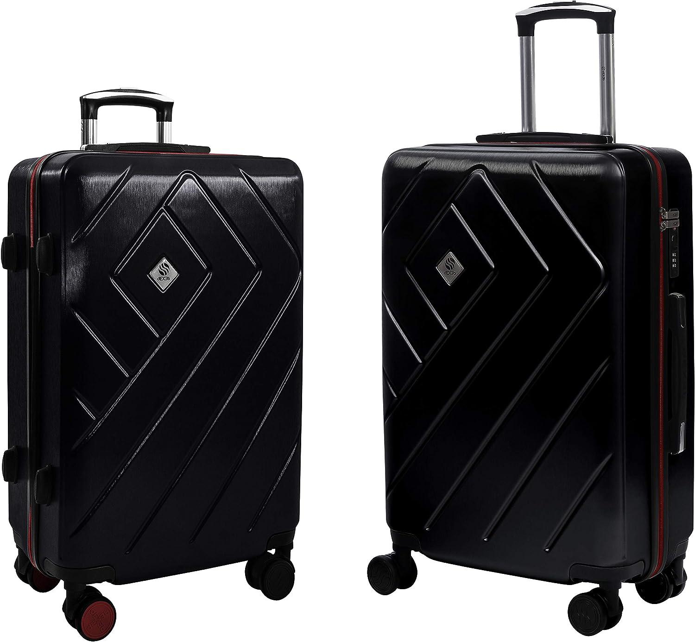 Noir Profond ABS Lot de 3 Valises Trolley Polycarbonate Valise Rigide Valise de Voyage /à roulettes pivotantes avec Syst/ème de Verrouillage TSA int/égr/é