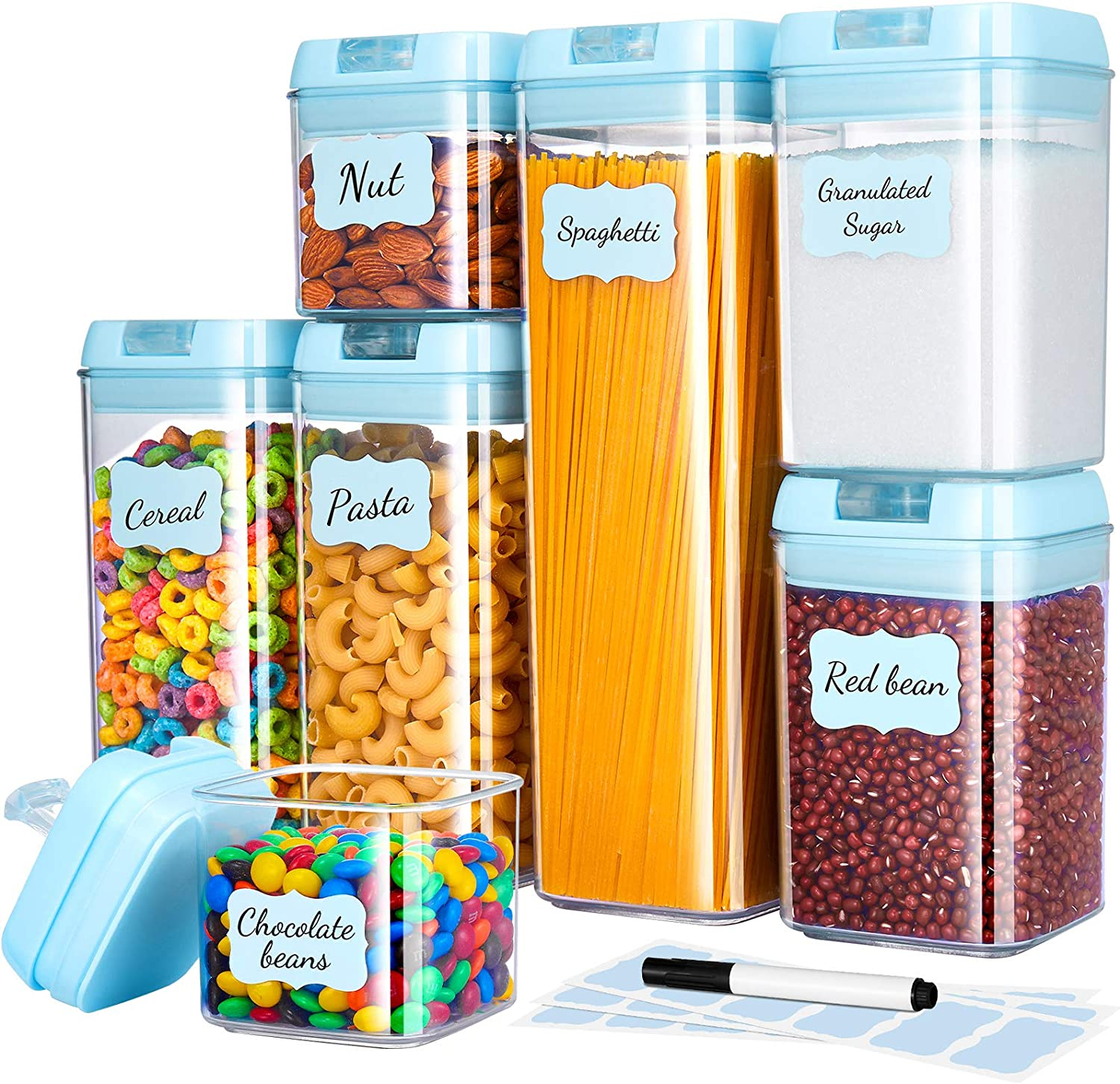 Gesentur Airtight Food Storage Containers with Lids, 7 Pack Plastic Cereal Containers Set for Kitchen Pantry Organization, BPA-Free Clear Storage Bins with Chalkboard Labels & Pen