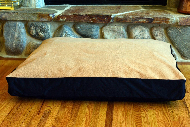 100% Waterproof FLEECE DIY Design-It-Yourself Dog Bed Cover; Washable, Hypoallergenic, Made in USA (Tan Fleece w Black, Medium/Large; 36 x 30 x 4)
