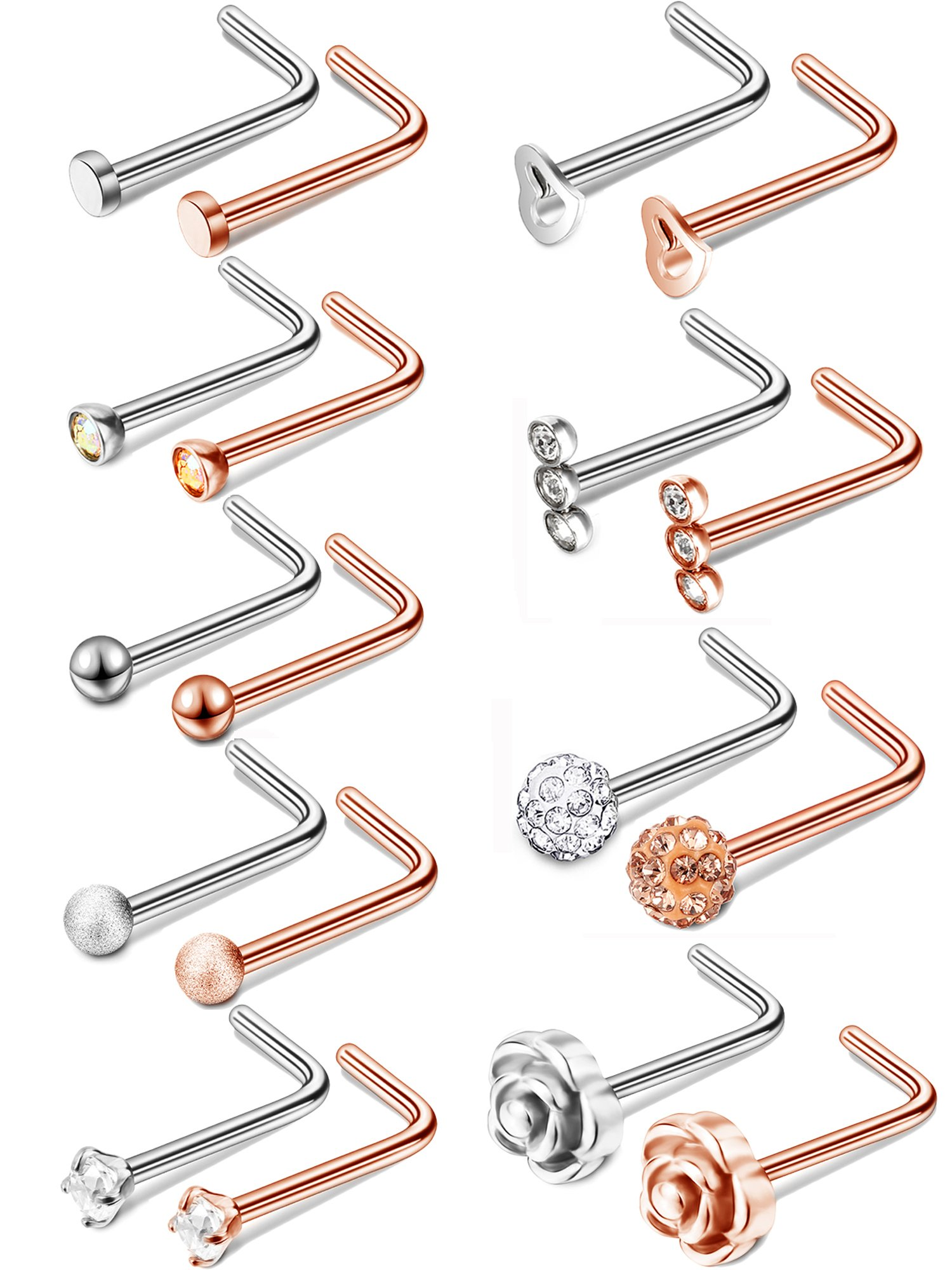 Jovitec 18 Pieces 20G L Shaped Labret Stainless Steel Nose Studs Cubic Zirconia Body Piercing Jewelry, 9 Styles (Rose Gold, Steel Color)