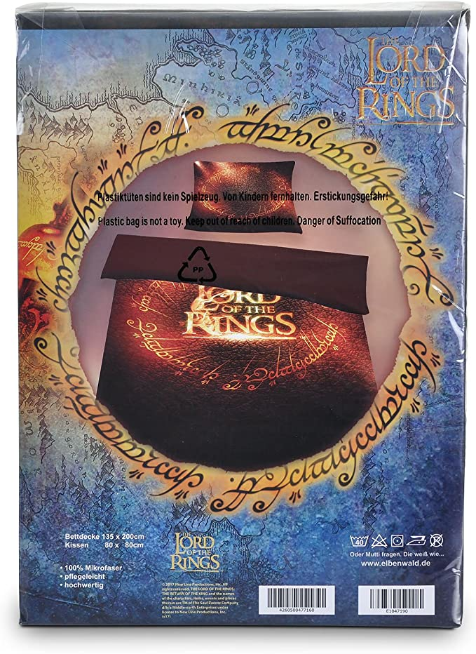 Elbenwald Se/ñor de los Anillos El Anillo de Lino 2tlg 135x200 80x80cm