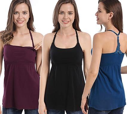 18e5cb77809be SUIEK 3PACK Nursing Top Tank Cami Maternity Shirt Sleep Bra for  Breastfeeding (Small, Black