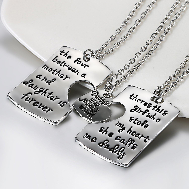 JewelryWe Juego de Collares para Familia, Colgante de Placas Grabadas para Padre Madre e Hija Collar de Mensajes Original, Buen Regalo para Día del ...