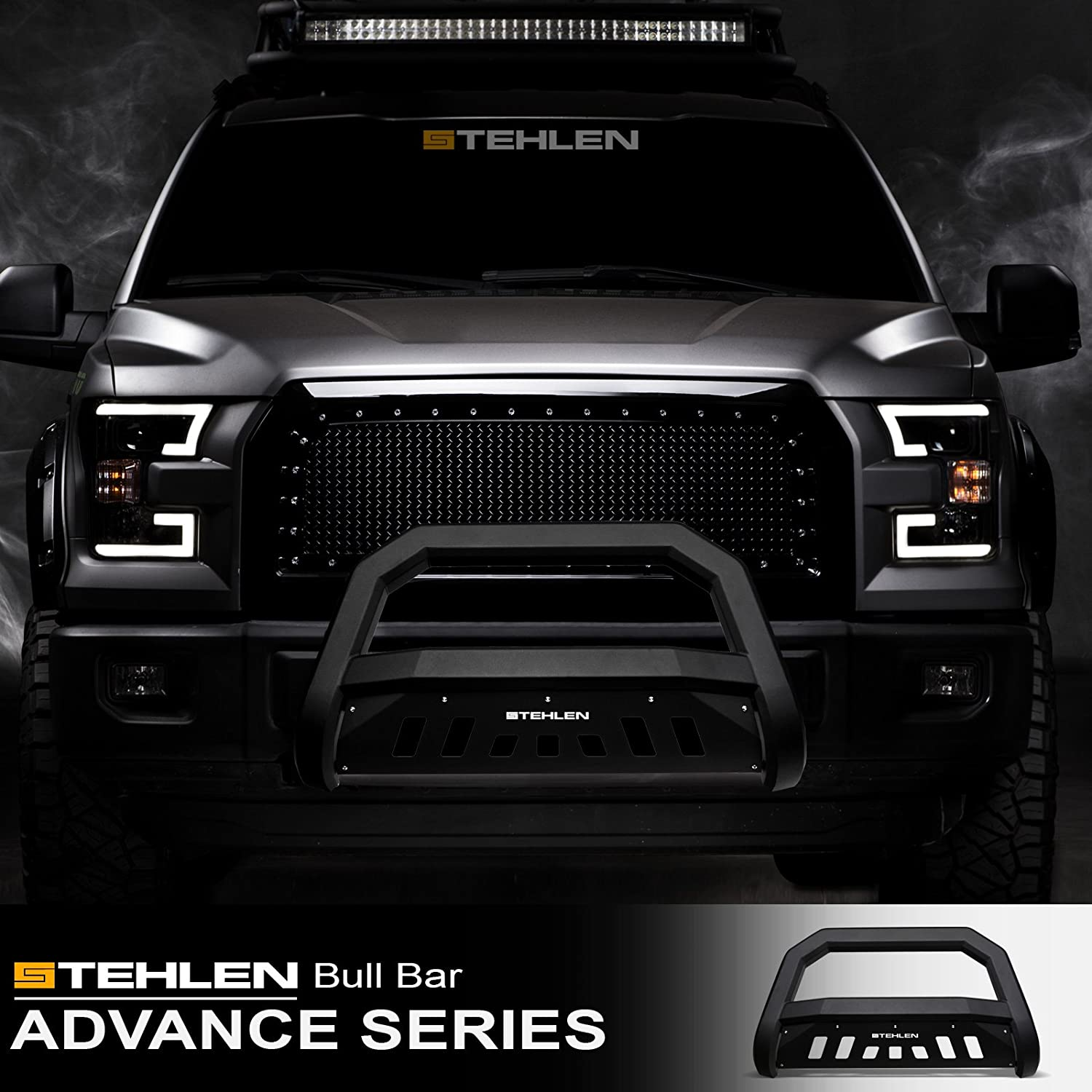 08-09 4500//5500 Matte Black For 06-08 Dodge Ram 1500//06-09 2500//3500 Stehlen 714937183711 Advance Series Bull Bar